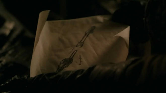 Arya's drawing of the weapons she wants Gendry to make her