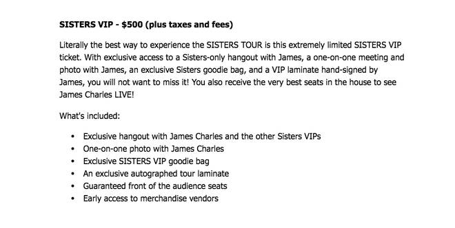 james charles tour prices