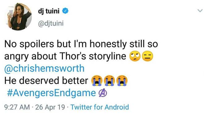 Thor: Endgame reaction Twitter