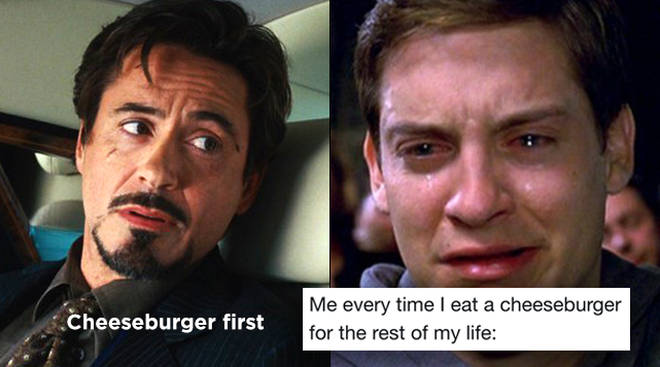 Tony Stark's cheeseburger quote in Iron Man is referenced in Endgame