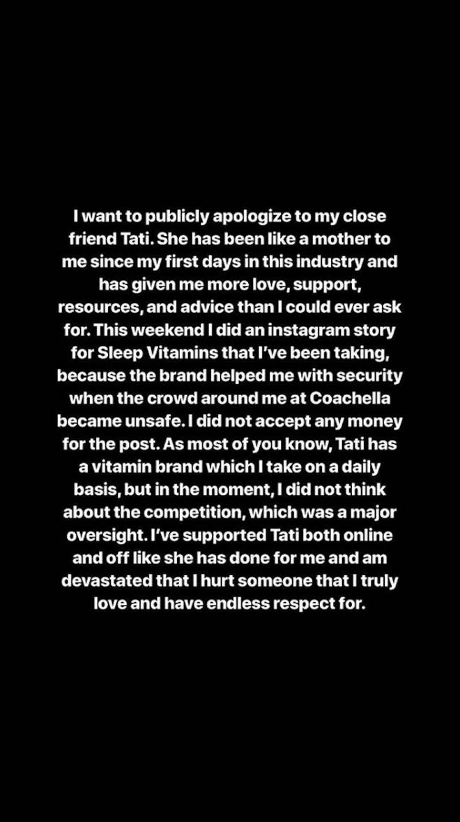 James Charles Instagram apology to Tati Westbrook