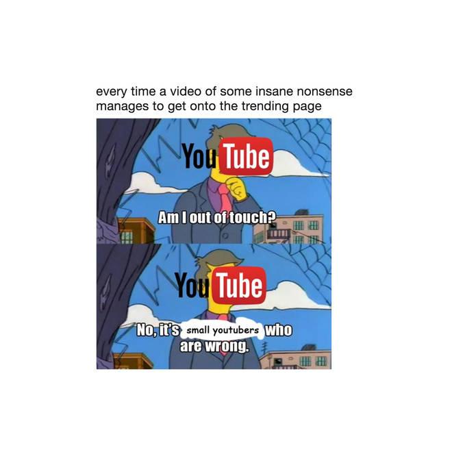 youtube trending page meme