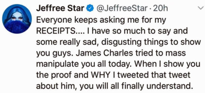Jeffree Star's deleted tweet.