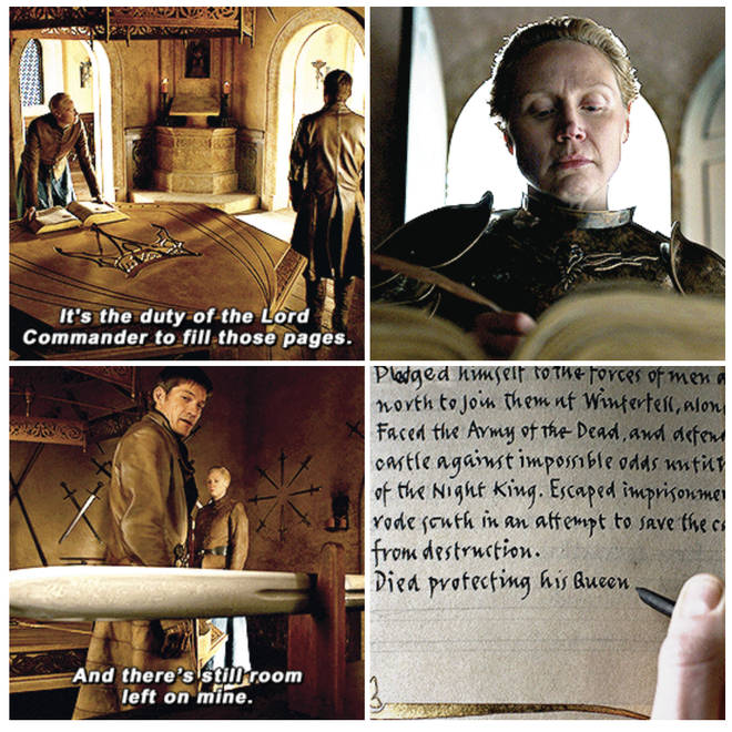 Jaime Lannister spoke to Brienne of Tarth about his entry in the Book of Brothers