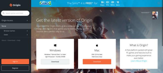 Origin free sims