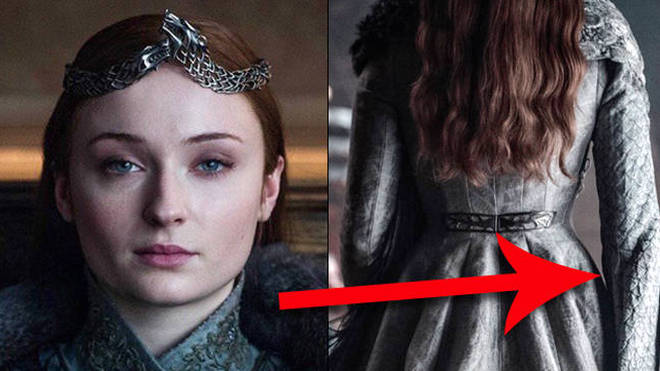 Sansa's coronation gown in the show's finale was made from the same material as Margaery Tyrell's wedding dress