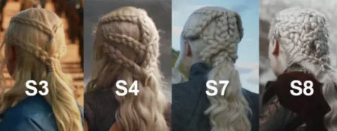 Daenerys' plaits get more complex as the show goes on