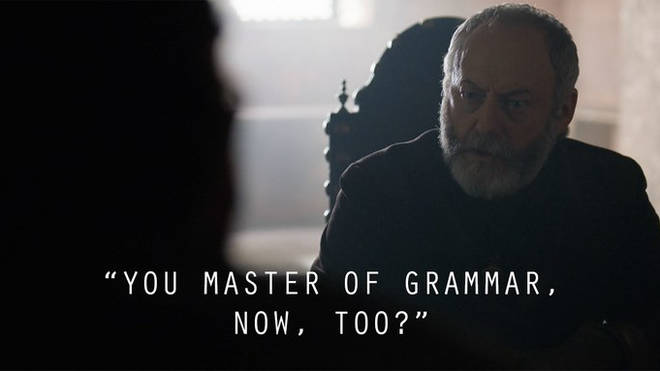 Ser Davos corrected Bronn's grammar, just as Stannis Baratheon used to correct him