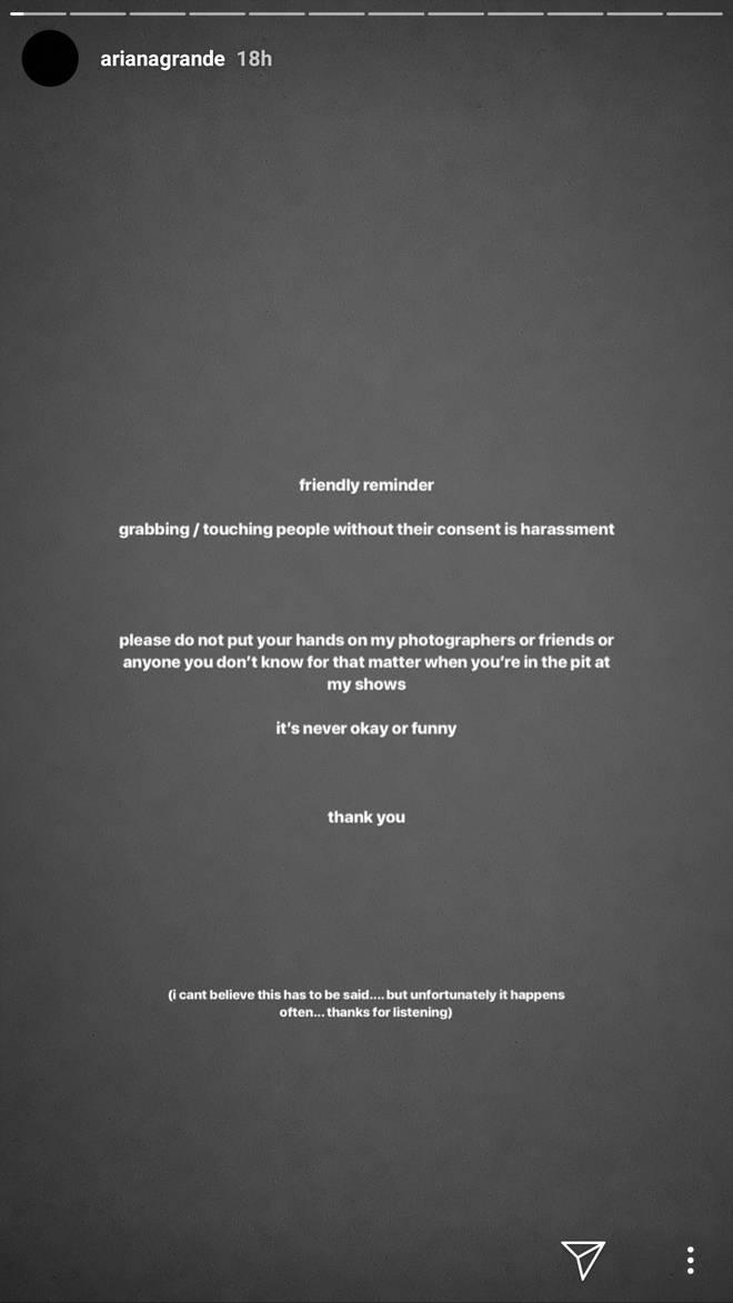Ariana Grande Instagram stories harassment