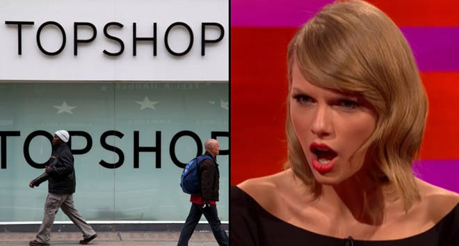 Topshop store front/Taylor Swift shocked