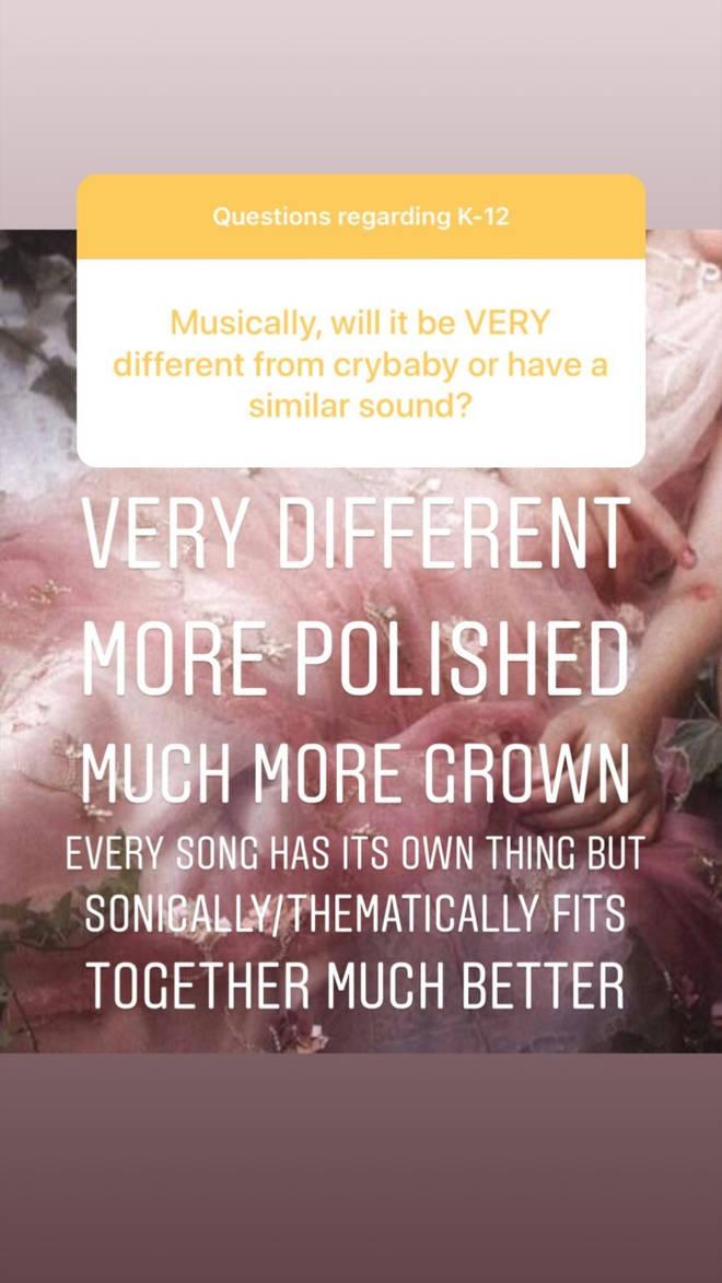 Melanie Martinez k-12 Instagram post