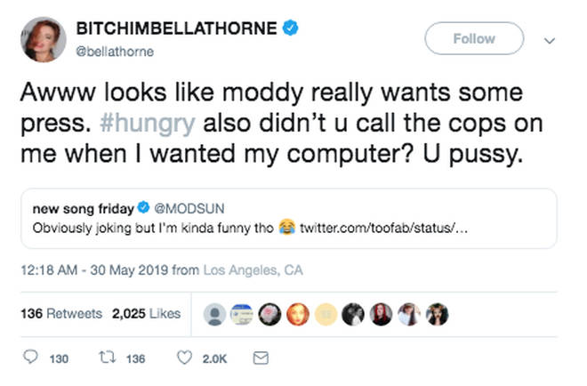 Bella Thorne replies to Mod Sun on Twitter
