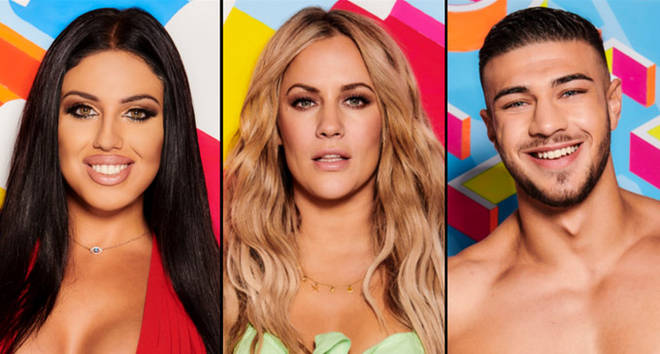 Love Island cast and Caroline Flack.