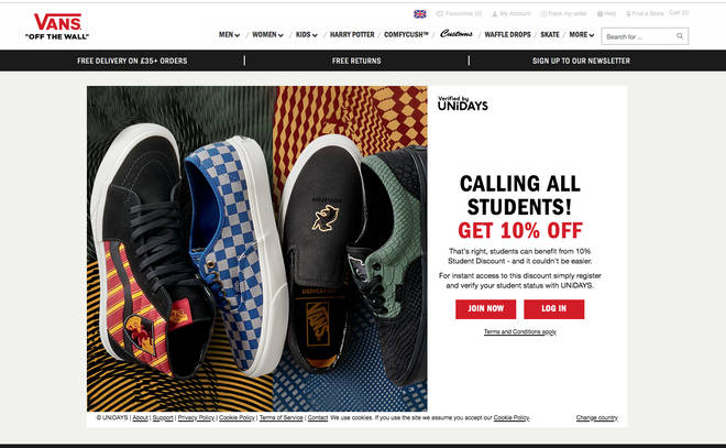 Vans UK discount code Harry Potter