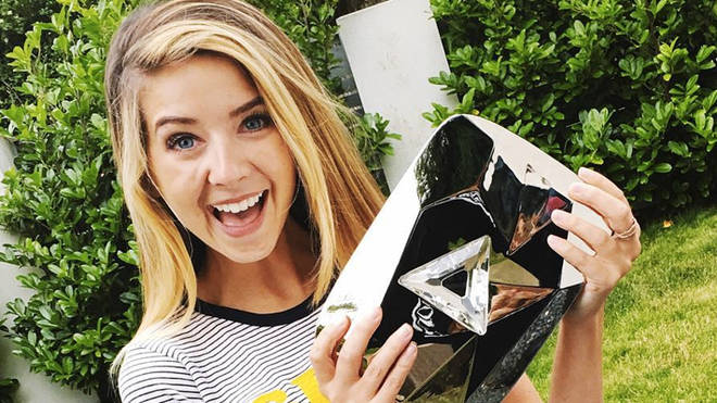 Zoella with her diamond play button