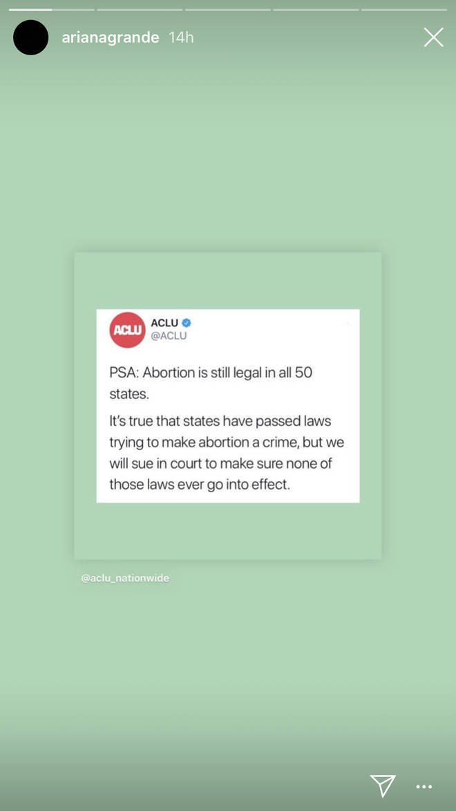 Ariana Grande tweet ACLU
