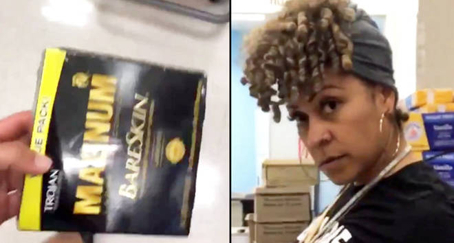 People are filming their mum's reactions whilst they shop for condoms.