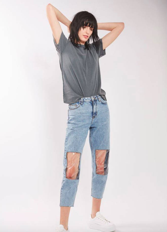 Clear knee jeans