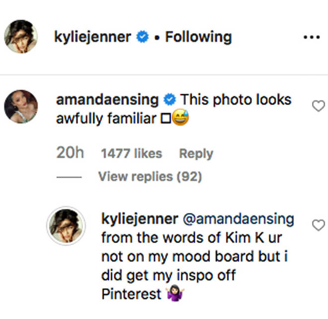 Kylie Jenner's Instagram comment.