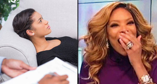 Therapy sofa/Wendy Williams laughing.