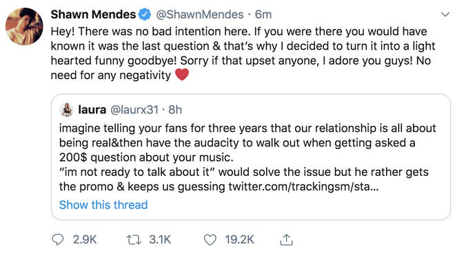 Shawn Mendes responds to fans who called him out after Q&A