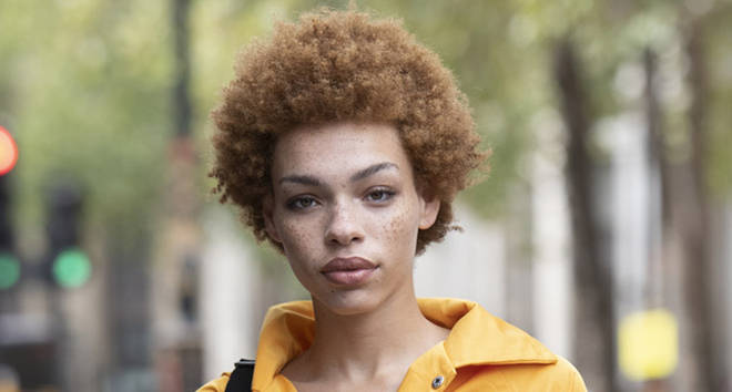 Model Carissa Danielle Pinkston during London Fashion Week September 2018.