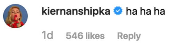 Kiernan Shipka Instagram Comment.