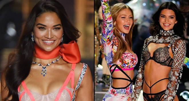 Shanina Shaik, Gigi Hadid and Kendall Jenner at 2018 Victoria's Secret Fashion show.