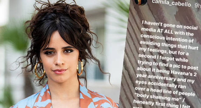Camila Cabello is seen wearing pants and belted coat Johanna Ortiz on June 18, 2019, Instagram Story.