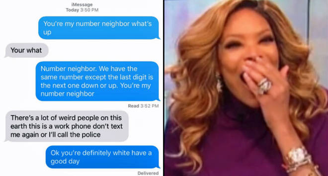 Number neighbour text messages, Wendy Williams laughing.