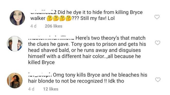 Tony killed Bryce fan theories on Instagram