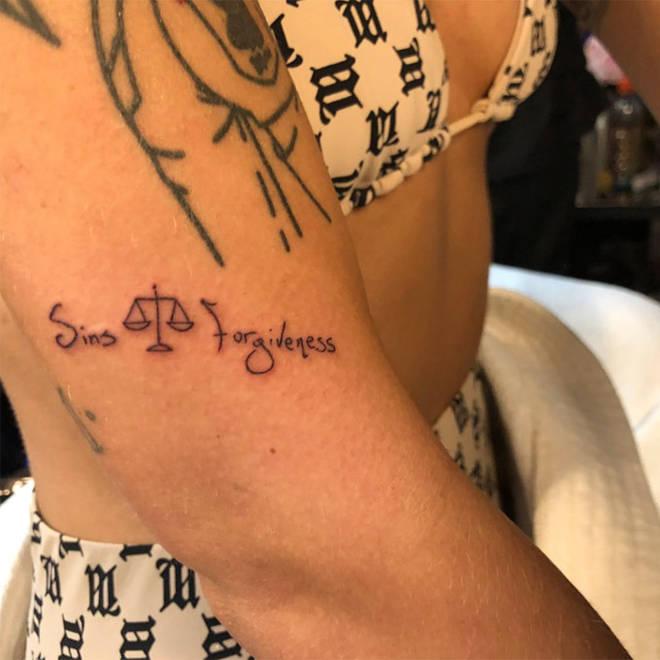 "Halsey&squot;s ""Sins Forgiveness"" Libra Tattoo."