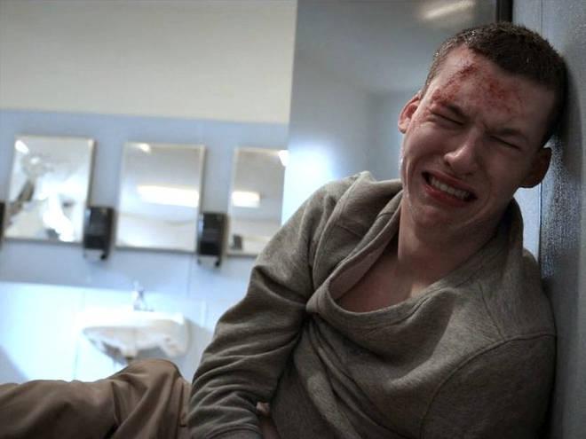 Tyler Down bathroom assault scene in 13 Reasons Why season 2