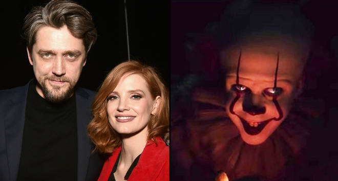 Andy Muschietti and Jessica Chastain pose backstage at CinemaCon 2019 Warner Bros. Pictures, Pennywise