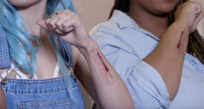 Halsey matchstick tattoo.