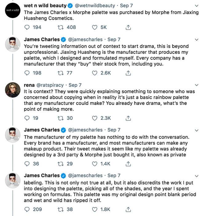 Wet n Wild James Charles Tweets.