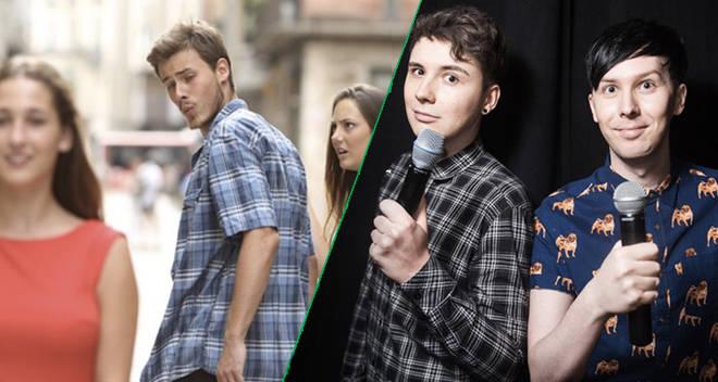 Dan and Phil recreate the jealous girlfriend meme