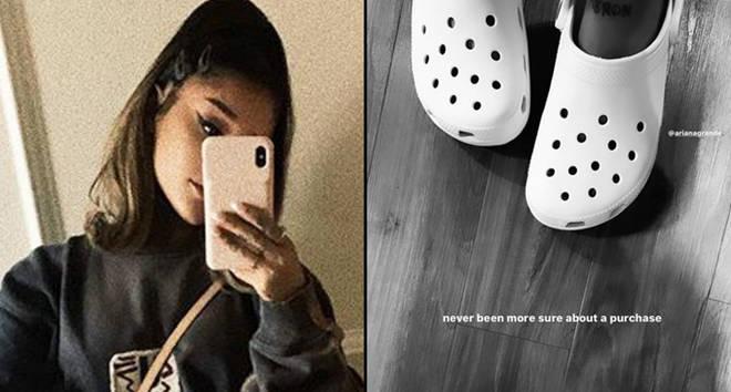 Ariana Grande selfie, Crocs Instagram Story with Courtney Chipolone.