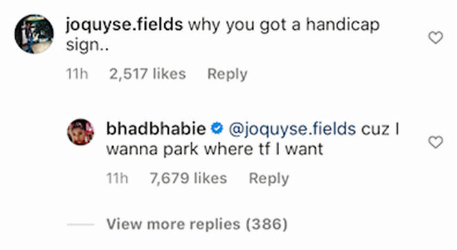 Bhad Bhabie comments.