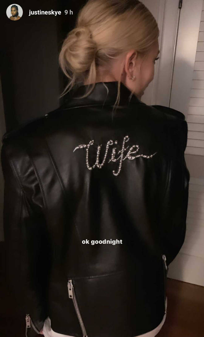 Hailey Bieber Justin wedding wife leather jacket