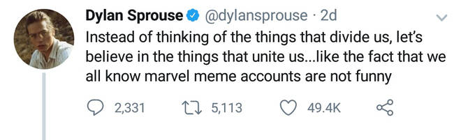 Dylan Sprouse Marvel tweet