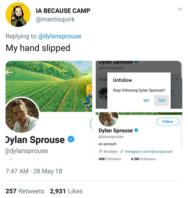 Dylan Sprouse tweet unfollow