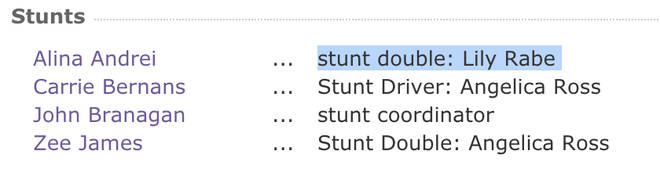 A stunt double has been listed for Lily Rabe on AHS on IMDb