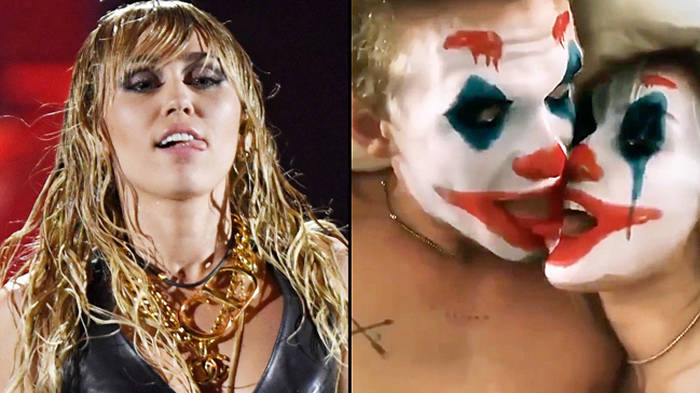 Miley Cyrus and Cody Simpson kissing with Joker filters on is terrifying