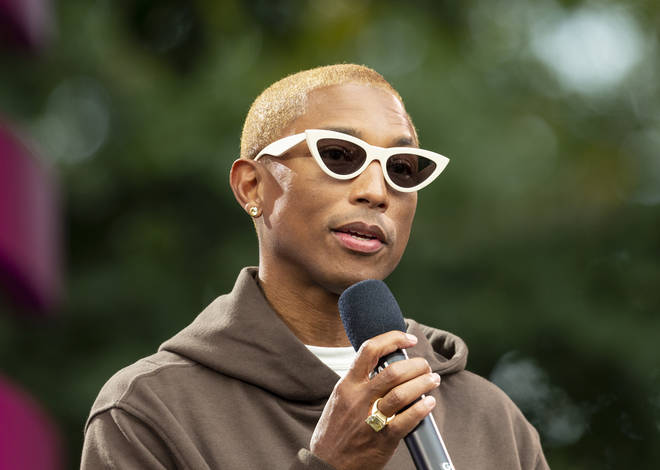 Pharrell Williams speaks on stage during 2019 Global Citizen...