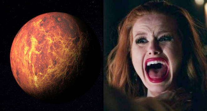 Outer space exploration with Mars planet, Cheryl Blossom screaming.