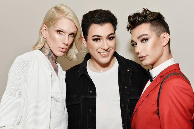 Jeffree Star, Manny Gutierrez and James Charles celebrate The Launch Of KKW Beauty.