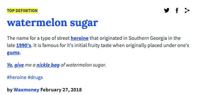 Watermelon Sugar Urban Dictionary