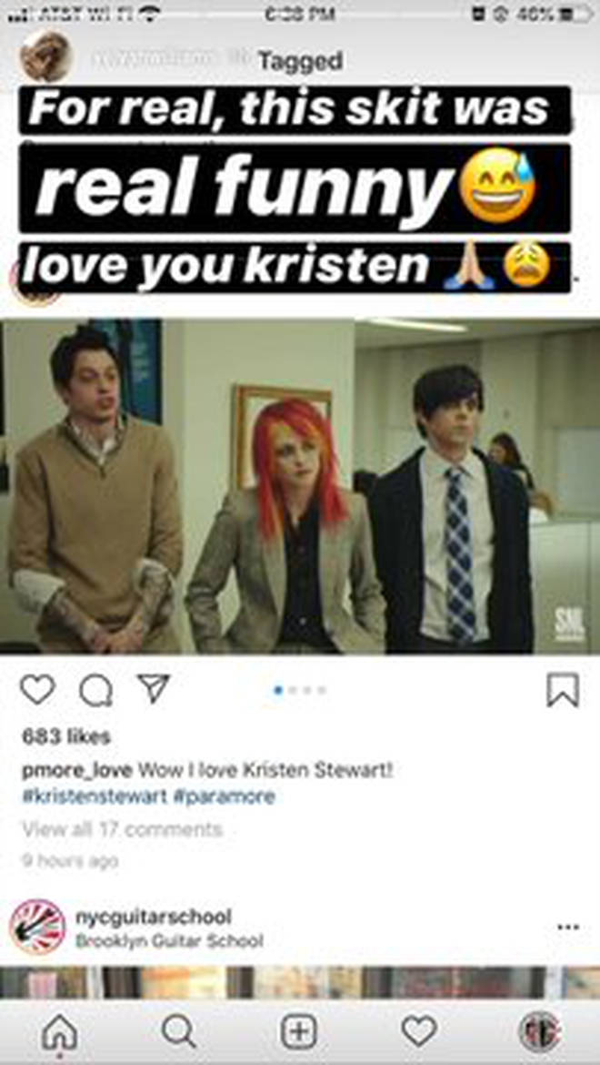 Hayley Williams reacts to Kristen Stewart SNL Sketch