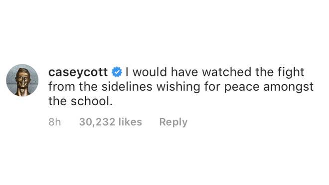 Casey Cott Comment